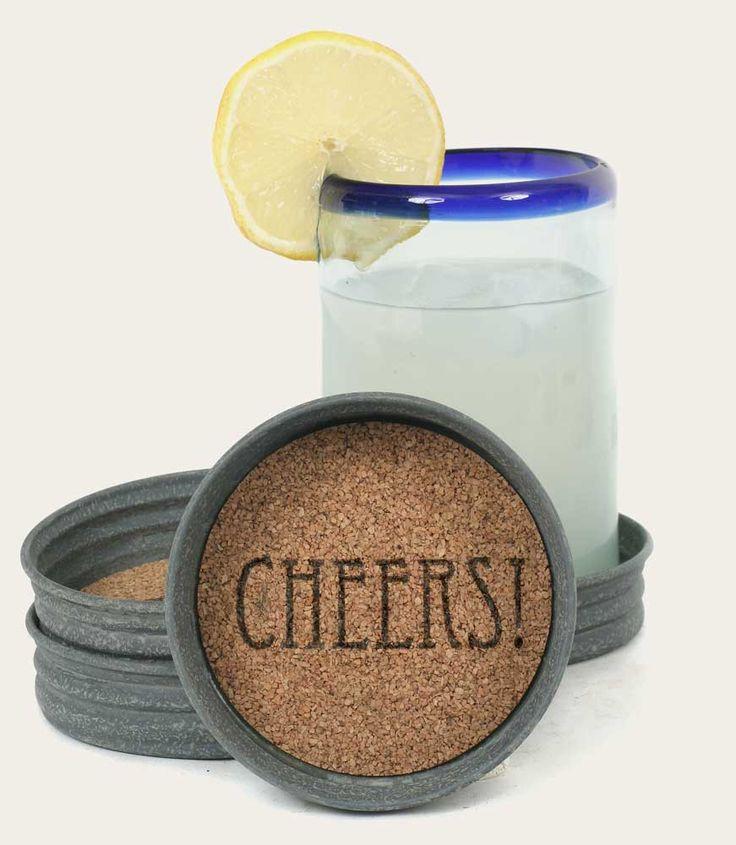 Mason Jar Coaster Set of 4 - Cheers