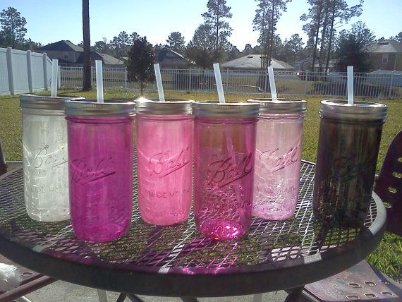 Ball Mason Jar Sippy Tumbler - Pinks - White - Black - CHOOSE YOUR COLOR - 24 oz Tumbler on Etsy, $8.00