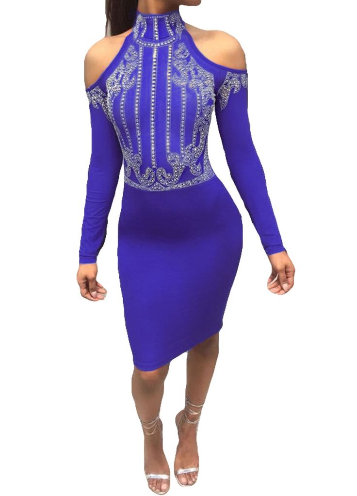 Chic High Neck Cold Shoulders Rhinestones Dress_Club Dress_Clubwear Clothing_Sexy Lingeire | Cheap Plus Size Lingerie At Wholesale Price | Feelovely.com