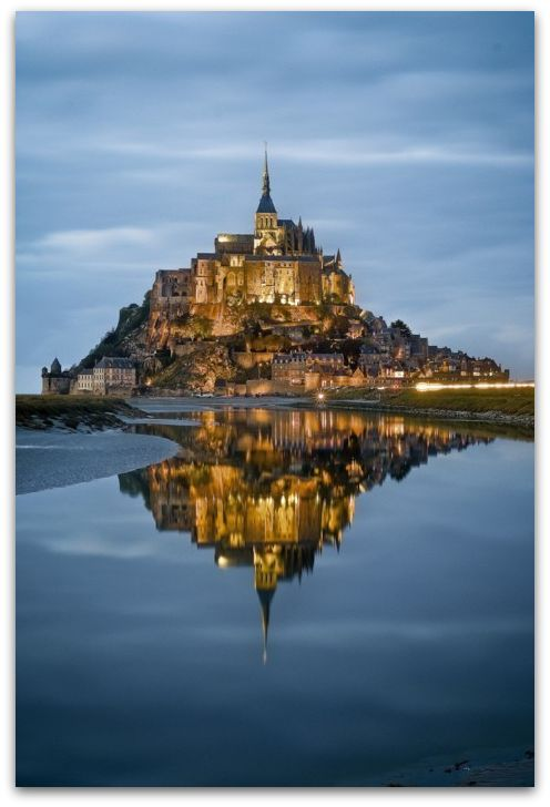 Mont St. Michel in Brittany looking like something from a Disney film.
