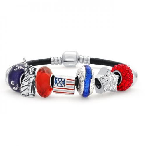 Pandora Beads Compatible USA American Flag Leather Charm Bracelet