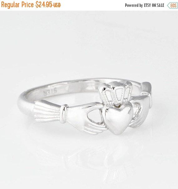 Cyber Monday Sale Sterling Silver Claddagh Ring, Claddagh Jewelry, Sterling Claddagh, Promise Ring, Irish Jewelry, Engagement Ring, Irish Ri by TheJewelryGirlsPlace on Etsy https://www.etsy.com/listing/202688950/cyber-monday-sale-sterling-silver