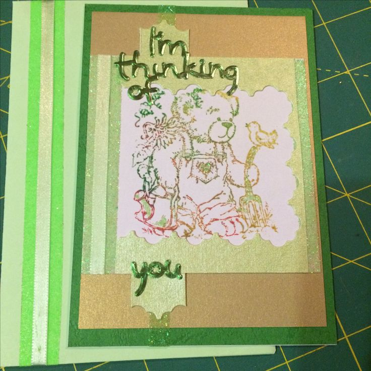 Stamped Teddy Thinking of you card