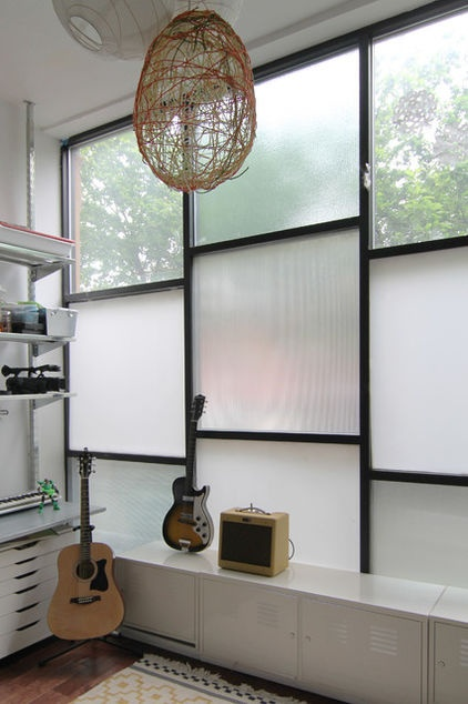 Translucent glass panes make for privacy, an especially good idea for living on a busy street.