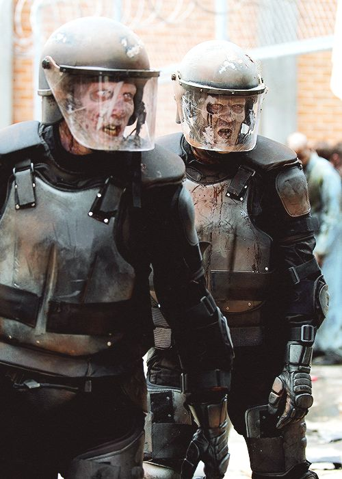 There's something about zombies in riot gear that I find very funny.