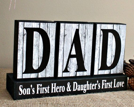 Gifts for Him - Dad Son's First Hero Daugther's First Love - Fathers Day Gift - Wood Blocks - Gift for Husband - Daddy Birthday Present