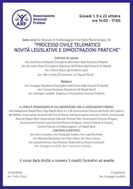 Studio Legale Buonomo (Napoli / Caserta): Eventi formativi 01-08-22/10/2015 ex Tribunale di ...