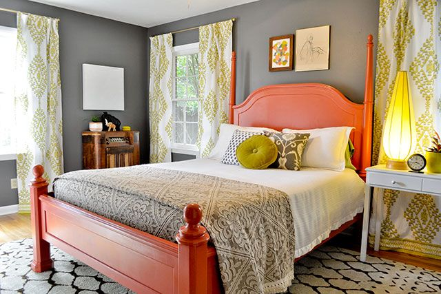 Fun colors, Bedroom Decorating :: Gray Walls with Salmon & Chartreuse Green 1  Bedroom | Beautiful Matters