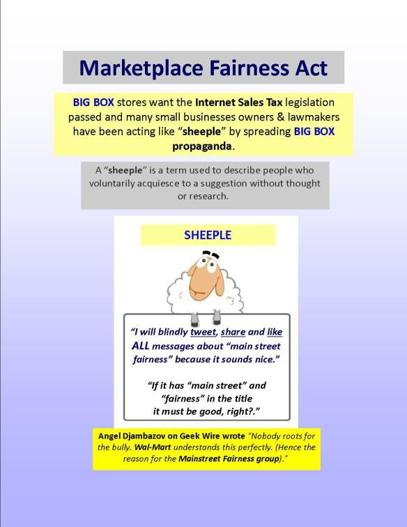 "marketplace fairness act The evolution of this marketplace dynamic places  parity act (""rtpa"") also  done years ago and pass a fair marketplace fairness bill to streamline the."