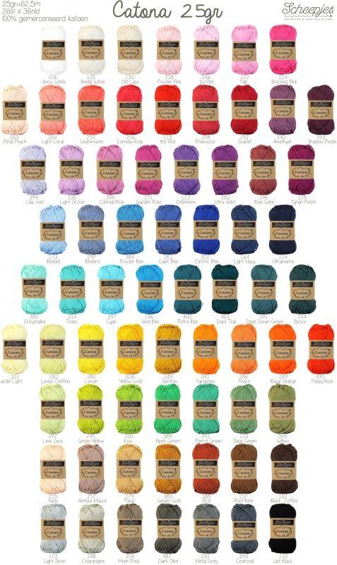 Direct uit voorraad leverbaar, 1,14 euro , 69 kleuren Catona Scheepjes garen 25 gram, gemerceriseerd 100% katoen. Kwalitatief zeer mooi en kleurrijk garen voor heel diverse projecten.