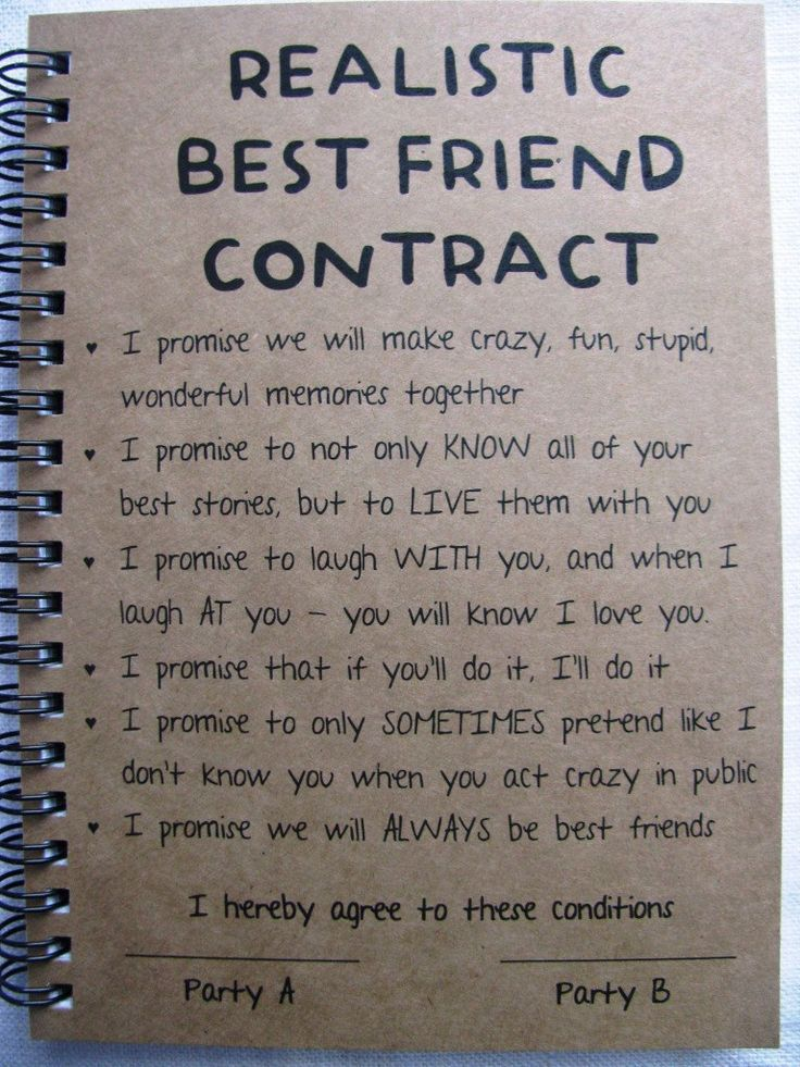 ReALiStiC Best Friend Contract – 5 x 7 journal – #…