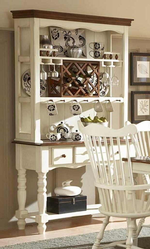 White Wooden Bakers Rack