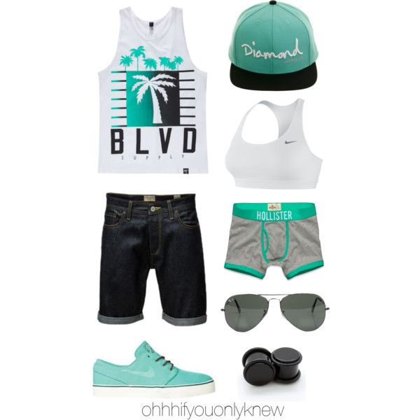 Untitled #203 by ohhhifyouonlyknew on Polyvore featuring Hollister Co., NIKE, BLVD Supply, Jack & Jones, Ray-Ban, tomboy, dyke and butch