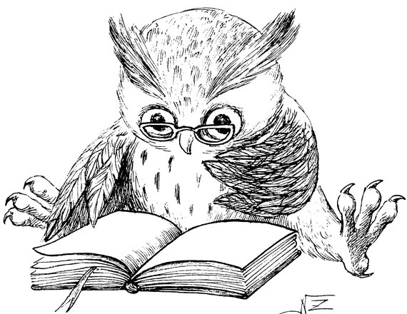 P27 Large Reading Owl rubber stamp, Hand drawn