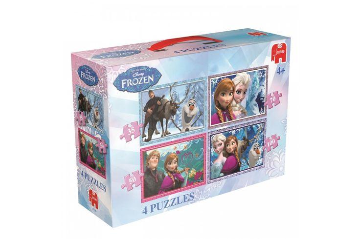 Vier puzzels van Frozen in een doos! Elk puzzel heeft een ander aantal puzzelstukjes. #frozen #disney #jumbo #kindercadeau