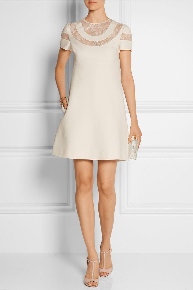 Valentino|Mini-robe en laine et crêpe de soie mélangés avec empiècements en dentelle|NET-A-PORTER.COM