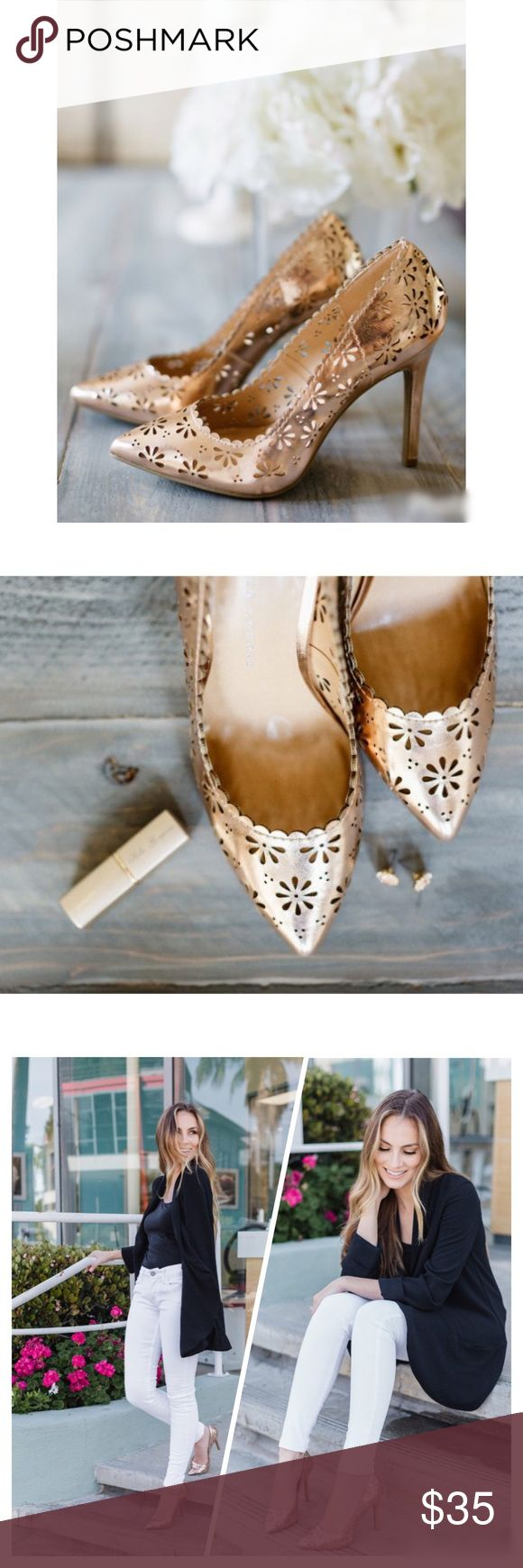 """NWT. LC Lauren Conrad floral cutout gold pumps NWT. LC Lauren Conrad floral cutout gold pumps. Introduce some radiant style to your ensemble with these women's floral pumps from LC Lauren Conrad. Features a cut-out floral design, treaded sole, pointed toe, slip on, padded footbed. About 4"""" heel. True to size   Sorry, no trades. Like the item but not the price, feel free to make me a reasonable offer using the offer button. LC Lauren Conrad Shoes Heels"""