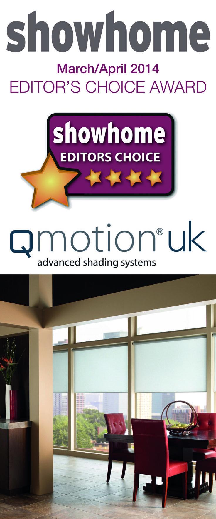 QMotion UK wins the Showhome editor choice award.