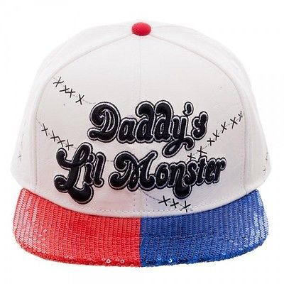 DC COMICS SUICIDE SQUAD HARLEY QUINN DADDY'S LIL MONSTER SEQUIN SNAPBACK HAT CAP