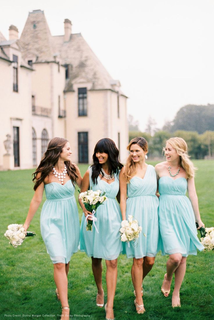 Donna Morgan mix and match bridesmaid dresses - great for summer! Flowey chiffon =)