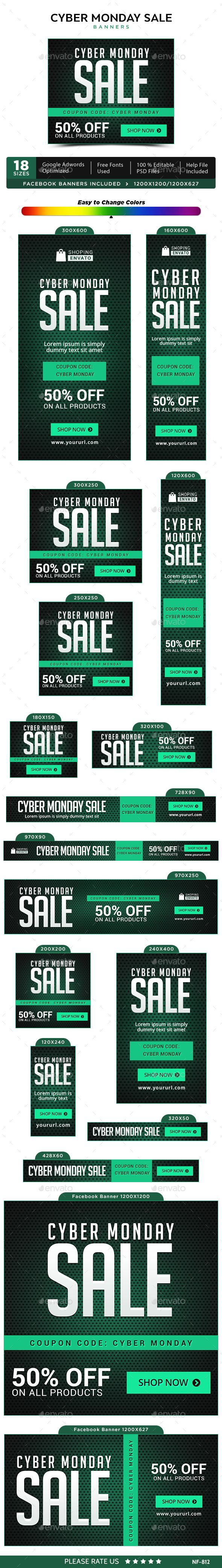 Cyber Monday Sale Web Banners Template PSD #design Download: http://graphicriver.net/item/cyber-monday-sale-banners/13686264?ref=ksioks