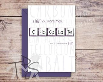 Printable Valentine's Day Card | Greetings Card | Periodic Table | Chocolate Birthday | Anniversary Card | Fun Birthday | 5 x 7 inch