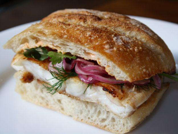 : Flounder Sandwich Marinated in Fish Sauce, with Sriracha Mayonnaise ...