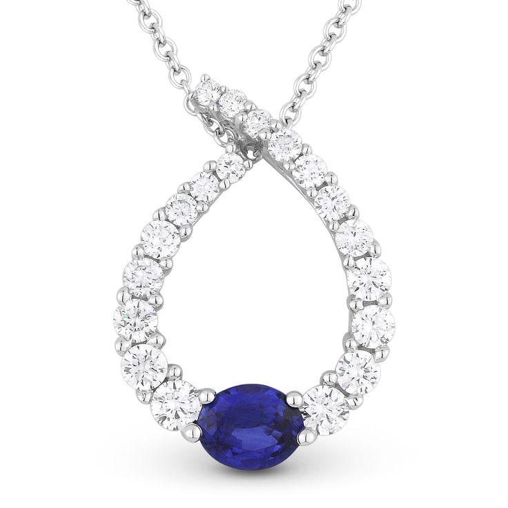 0.92ct Sapphire & Diamond Water Drop Charm Journey Pendant in 18k White Gold w/ 14k Chain Necklace - AlfredAndVincent.com