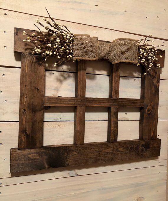 6 Pane Wood Window Frame Primitive Wall Decor 14 75h X 19 5w Each Window Square Is Roughly 4 H And 4 5 W Primitive Wall Decor Wood Window Frame Wood Windows