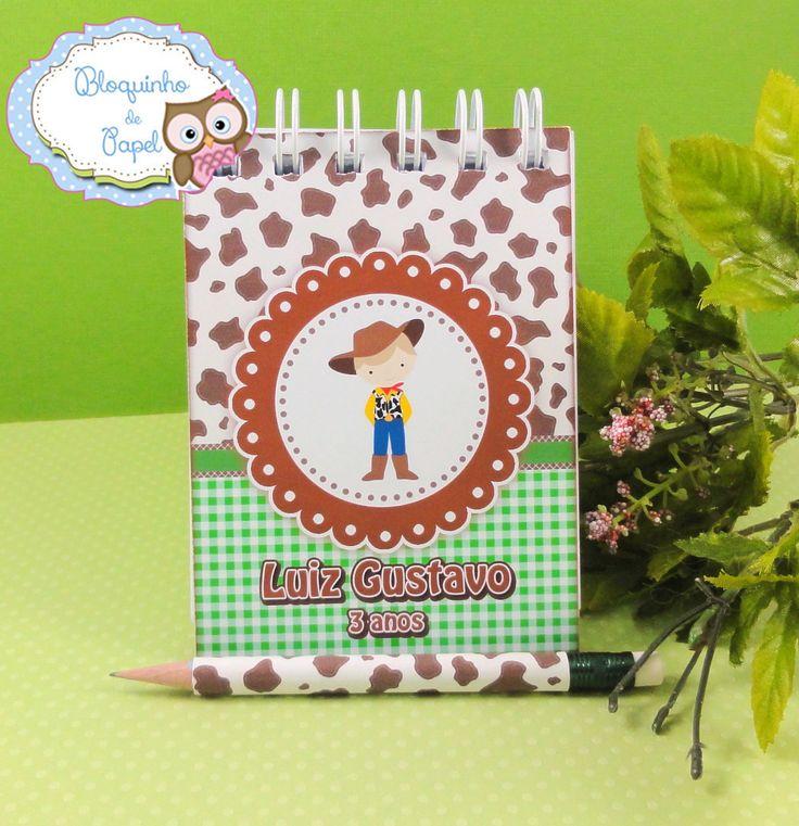 Caderninho para lembrança dematernidade para meninos. Fazendinha. www.bloquinhodepapel.com.br