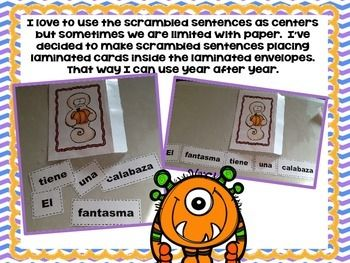 SCRAMBLED SENTENCES OCTOBER IN SPANISH - TeachersPayTeachers.com
