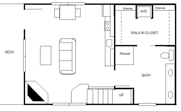 Robert olson 840 sq ft 20 x 30 cottage for two staircase for 840 square feet