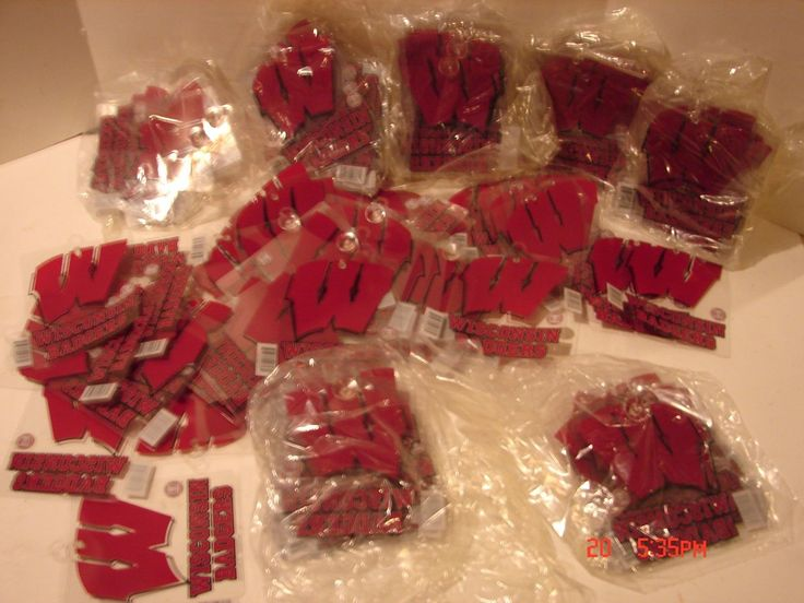 """HUGE LOT 100 WISCONSIN BADGERS WINDOW CLING SUCTION CUP SIGN UNIVERSITY WIS. """"W"""""""