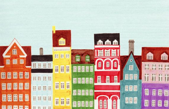 Beautiful Scandinavian design carries through to their charming architecture! This colorful, bright illustration combines different styles and colors of real buildings from Copenhagen, Denmark