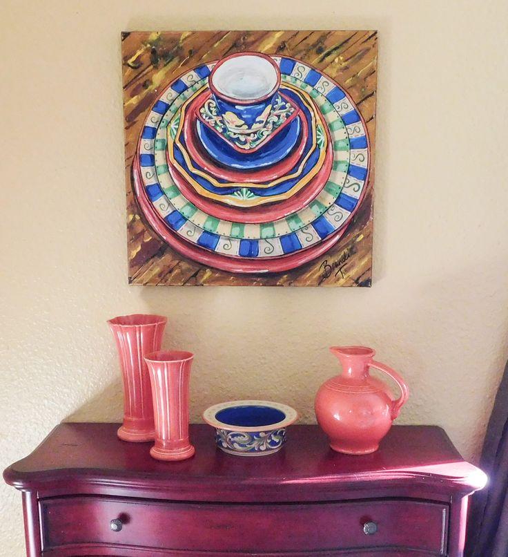 Dishes  Painting Inspired by Villa Della Luna + Fiesta Persimmon u0026 Sapphire. Work  sc 1 st  Pinterest & 89 best Pfaltzgraff Villa Della Luna images on Pinterest | Mansions ...