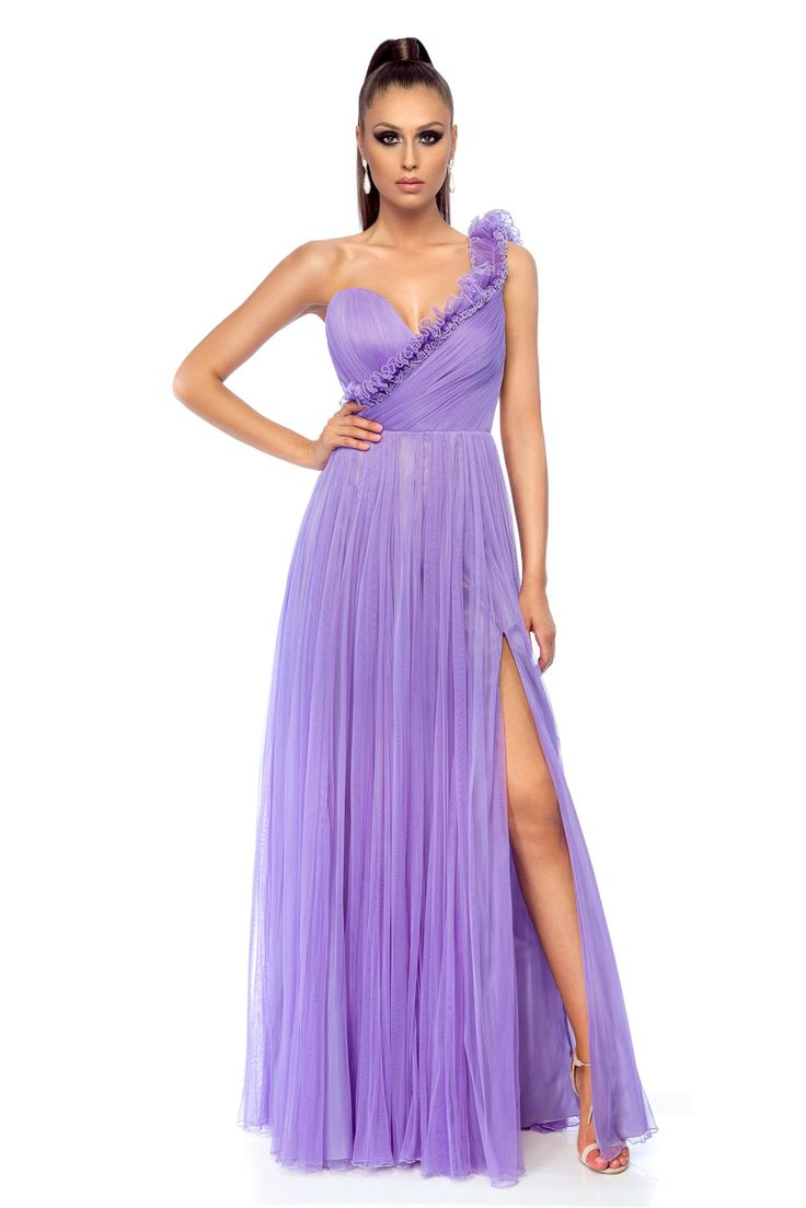 Ana Radu occasional lila one shoulder dress with push-up cups, one shoulder, corset tipe fastening, back zipper fastening, wrinkled fabric, push-up cups, inside lining, net