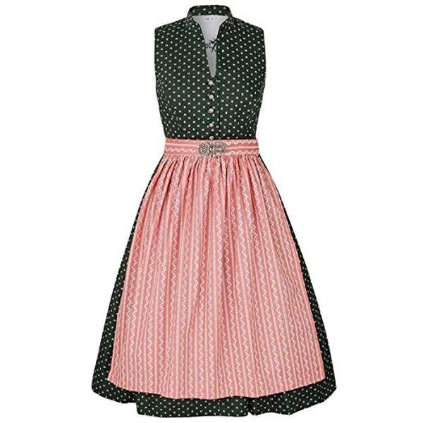 Damen Gwandlalm Waschdirndl hochgeschlossen grün mit Broschenschürze rosa, grün, #dirndl