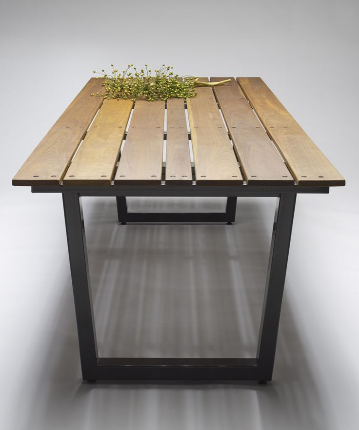 Temperature Design - Outdoor Sinclair Table in Spotted Gum with Black PC leg base.