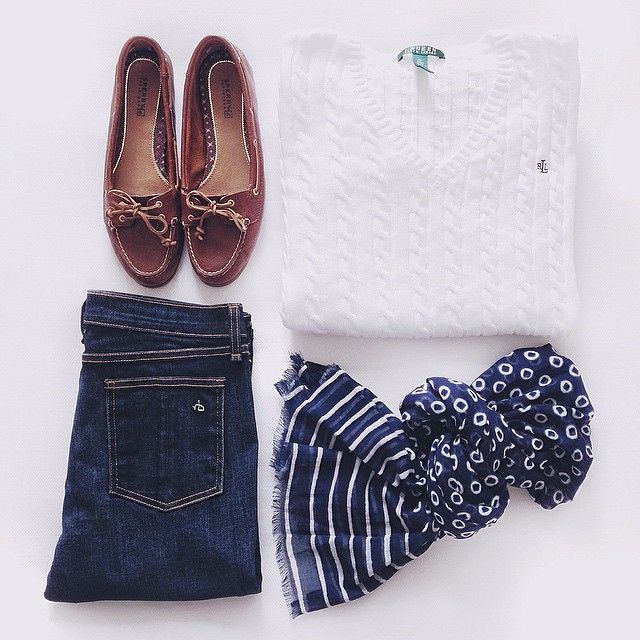 Nautical style with Sperry topsiders and a white Ralph Lauren cotton cable-knit sweater