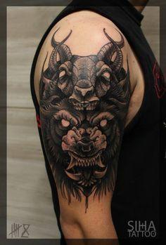Beast, Wolf & Goat Tradit Tattoo done by Mocho at Siha Tattoo Barcelona