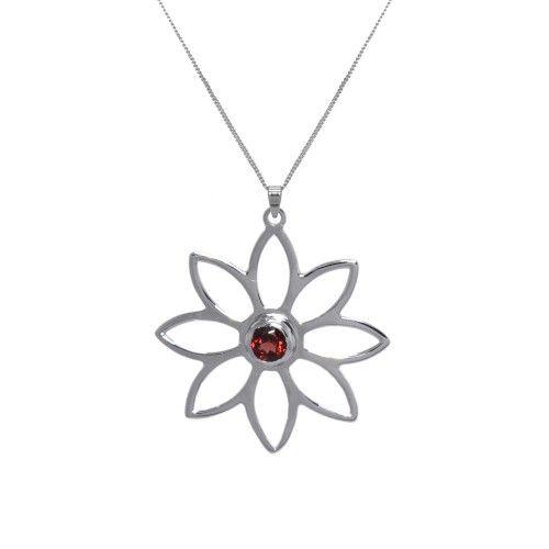 Namaqua Daisy Flower Necklace • Red Garnet • Sterling Silver