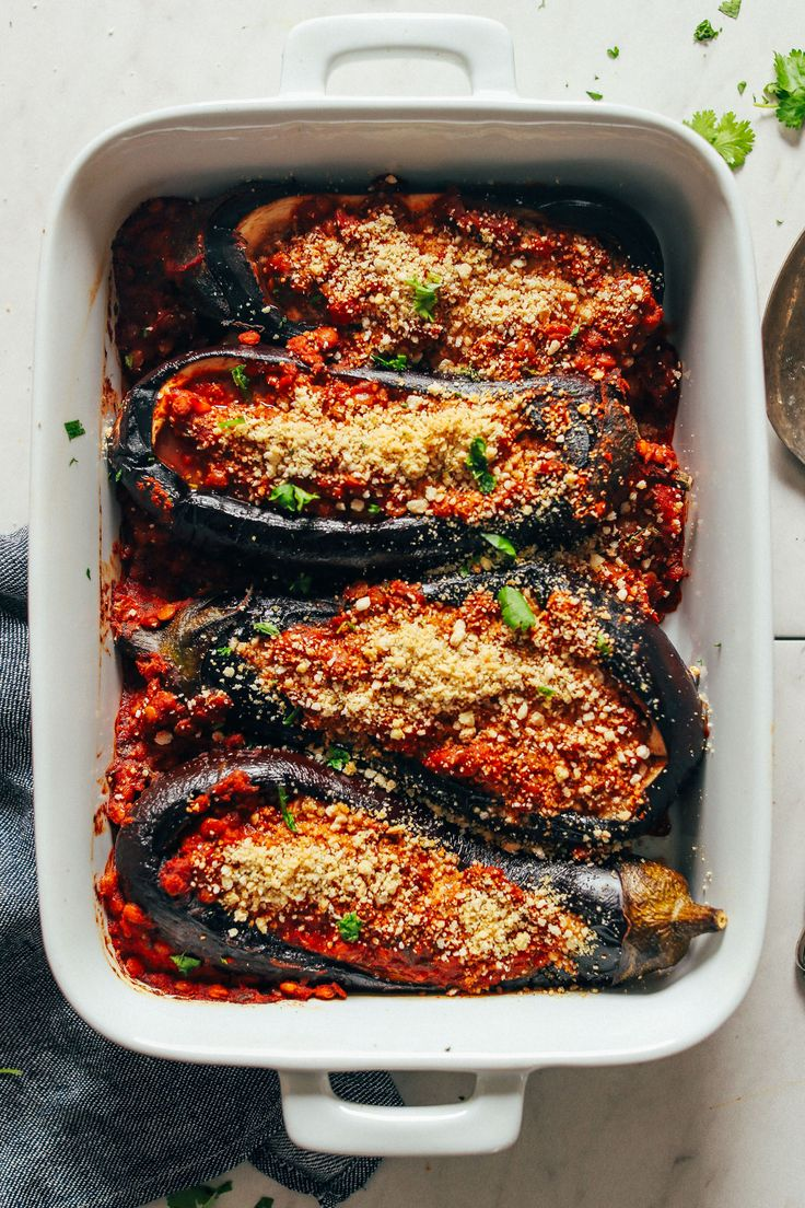 Stuffed baked eggplant with Moroccan-spiced lentils! Just 9 ingredients, big flavor, plenty of protein and fiber, and the perfect side dish or entrée.