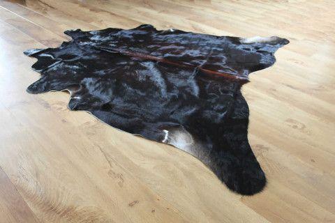 Dark Super Glossy Coat Cowhide Rug