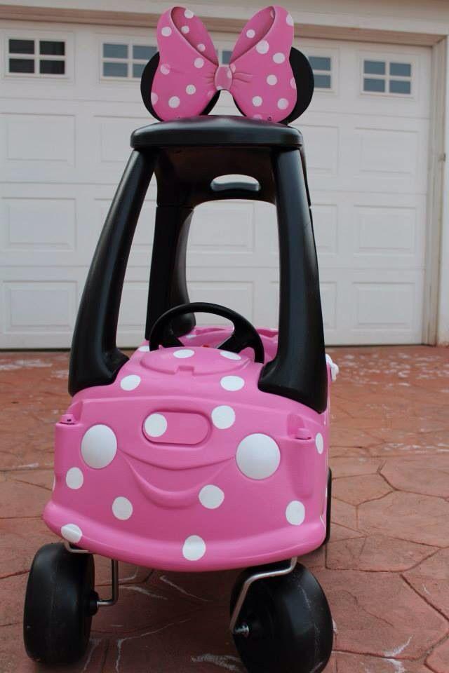 DIY Minnie Mouse Cozy Coupe #redo #makeover #minniemouse #cozycoupe #diy #pimpyourcozycoupe