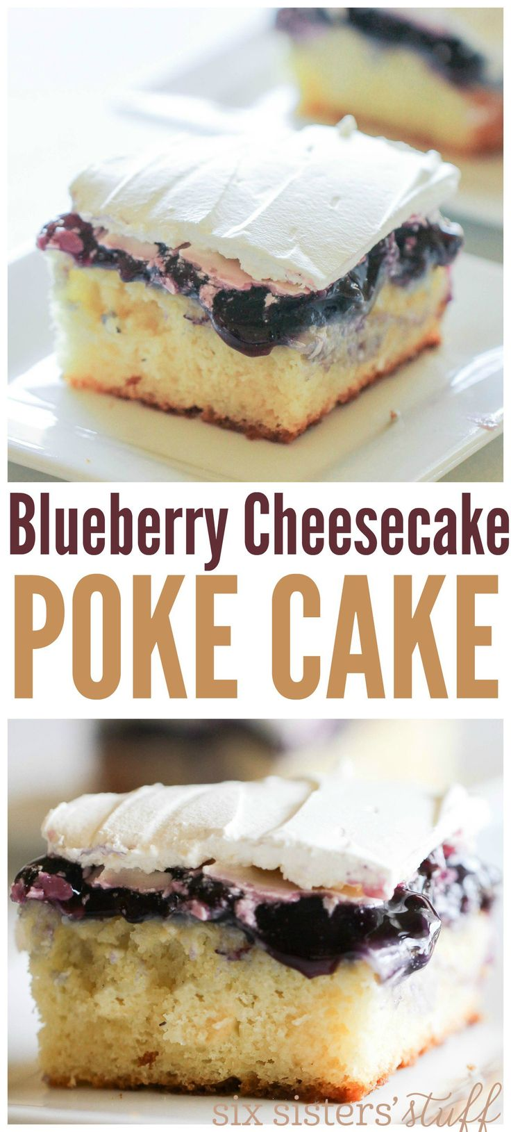 Blueberry Cheesecake Poke Cake from SixSistersStuff.com   Moist and AMAZING Cake Recipe   Best Dessert Recipe   Spring Desserts   Easter Recipe   Food for a Crowd