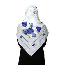 White, Blue and Tan Floral Designed Square Hijab / Scarf