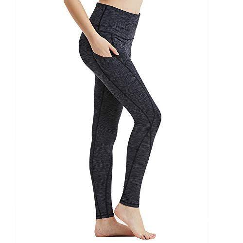 Hibbent Legging Femme Pantalon d Entraînement Course de Sport Yoga Fitness  Gym Pilates Taille Haute Gaine avec Poche latérale 27572a5d54d