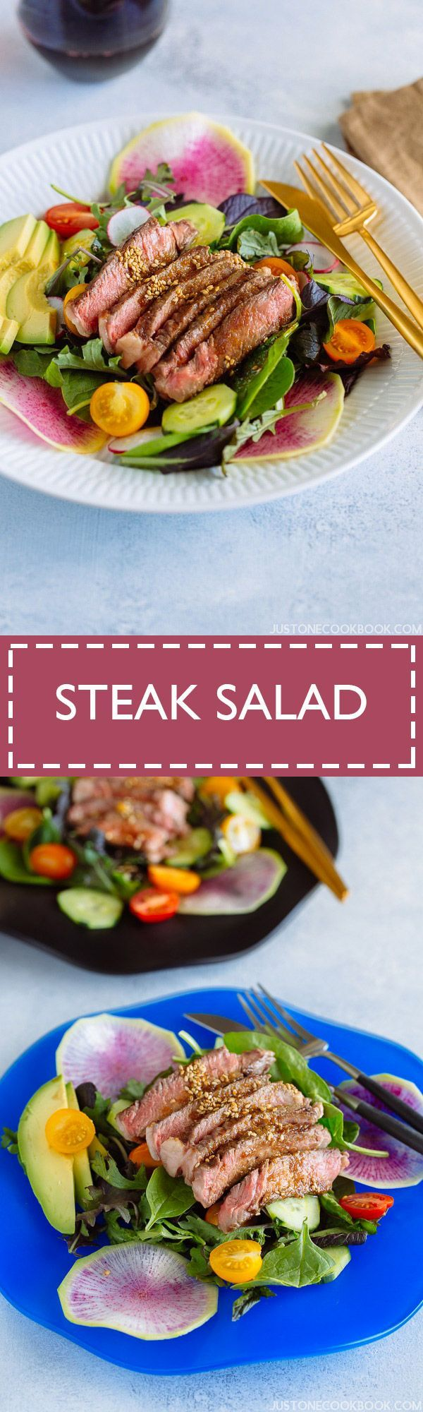 Hearty, satisfying, and delicious steak salad that kicks your average green salad up a notch with sizzling steak and savory Japanese-style shoyu dressing!
