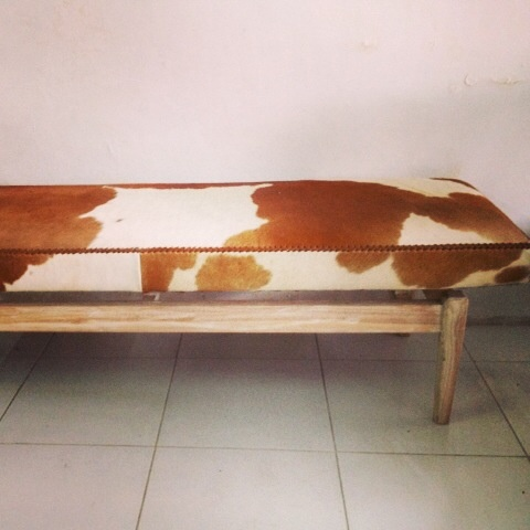 Divine cowhide bench coming soon. Perfect for the end of a bed.