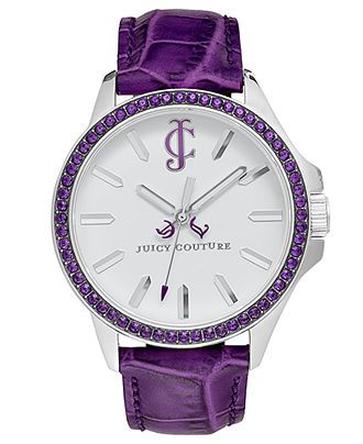 Juicy Couture Watch, Women's Jetsetter Purple Leather Strap 38mm 1900971 - Women's Watches - Jewelry & Watches - Macy's